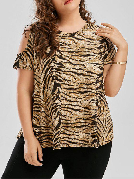 f470791fd3739 32% OFF  2019 Plus Size Tiger Printed Cold Shoulder T-Shirt In TIGER ...