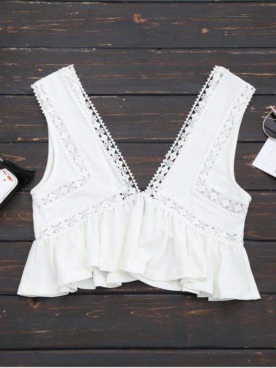 trendy Ruffles Lace Trim Cropped Tank Top - WHITE L