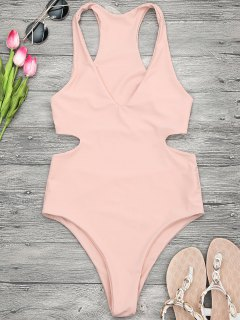 V Neck Cut Out One Piece Swimsuit - Orangepink M