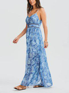 Printed Cami Maxi Holiday Sundress - Blue Xl
