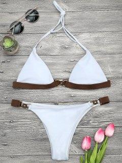 Soft Pad Farbblock Halter Bikini Set - Weiß S