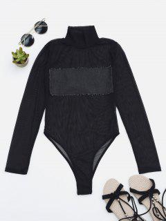 Sheer Mesh Patch Front One Piece Swimsuit - Deep Gray M