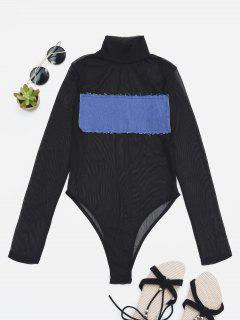 Sheer Mesh Patch Front One Piece Swimsuit - Blue S