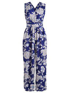 Multiway Floral Wide Leg Palazzo Jumpsuit - Blue Xl
