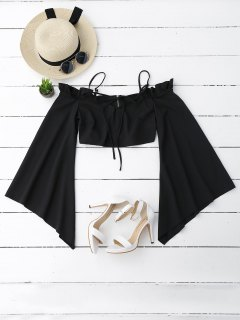 Ruffles Cropped Cold Shoulder Top - Black S