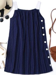 Side Button Up Stripes Mini Dress - Stripe S