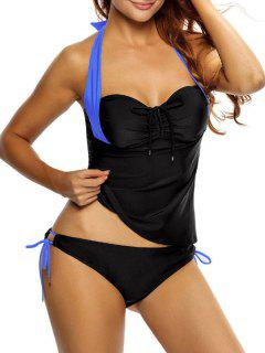 Tankini Top And Loop Tie Side Bottoms - Blue And Black Xl