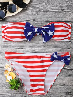 Bow American Flag Patriotic Bandeau Bikini Set - Red And White And Blue L
