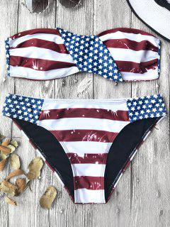 American Flag Patriotic Bandeau Bikini Set - Red And White And Blue L