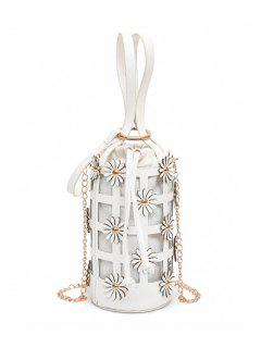 Hollow Out Chain Flowers Bucket Bag - White