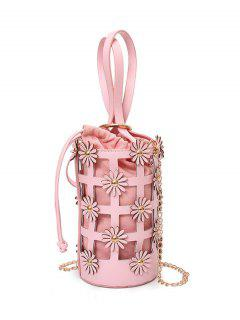 Hollow Out Chain Flowers Bucket Bag - Pink