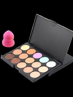 15 Colours Concealer Palette And Random Color Powder Puff - #03