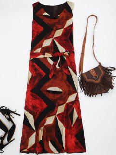 Midi Chiffon Geo Print Sundress - Red Xl