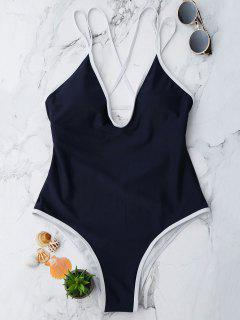 Contrast Piping Strappy High Cut Swimsuit - Purplish Blue S