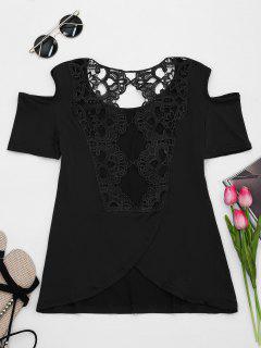 Encaje Espalda Hombro Frío Camiseta - Negro 2xl