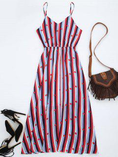 Chiffon Striped Midi Sundress - Multicolor M