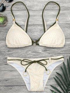 Mosaic Print Rings Strappy Bikini Set - Yellow S