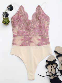 High Cut Embroidered One Piece Swimsuit - Pink M
