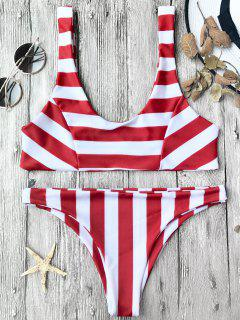 Striped Scoop Bikini Top And Bottoms - Red With White L