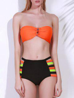 Strapless High-Waisted Bikini Set - Orange L