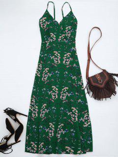 Vestido Maxi De Playa Con Tirante Fino Con Estampado Floral - Verde M