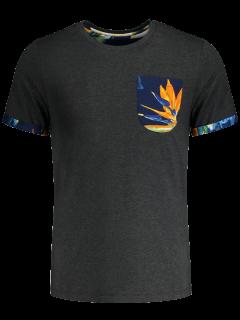Camiseta Del Bolsillo Del Estampado De Flores - Gris Oscuro Xl