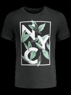 Camiseta Gráfica Impresa Hoja - Gris Oscuro Xl