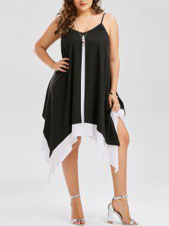 Plus Size Two Tone Handkerchief Dress - White And Black Xl