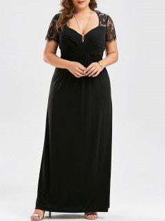 Plus Size Empire Waist Lace Panel Dress - Black 3xl