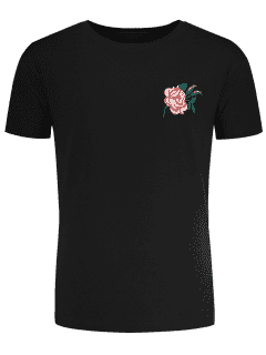 Short Sleeve Floral Embroidered Tee - Black L