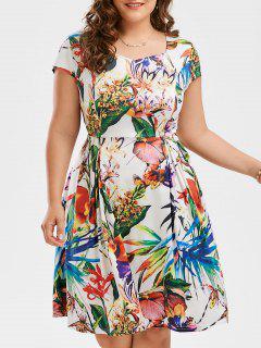 Print Cap Sleeve Plus Size Flare Dress - Floral 2xl