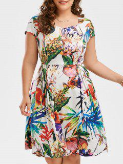 Print Cap Sleeve Plus Size Flare Dress - Floral 3xl