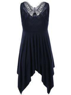 Vestido Asimétrico Sin Mangas Mariposa Cuello V - Negro 2xl