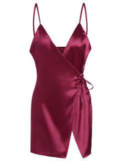 Vestido Encubierto De Satén Con Tirantes Finos - Vino Rojo Xl