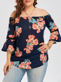 Plus Size Floral Chiffon Off The Shoulder Hawaiian Blouse - Deep Blue 2xl