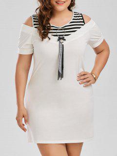 Vestido De Talla Extra De Camiseta De Rayas Con Hombros De Abertura - Blanco 3xl