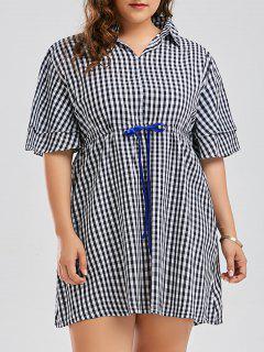 Plus Size Checked Drawstring Smock Shirt Dress - Blue 3xl