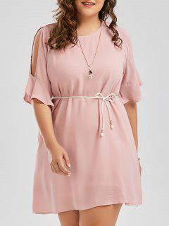 Plus Size Flare Slit Sleeve Chiffon Dress With Belt - Pink 3xl