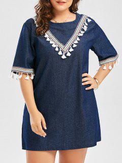 Plus Size Embroidered Tassel Peasant Mini Tunic Dress - Purplish Blue 4xl