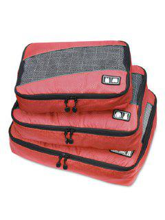 Mesh Panel 3 Pcs Storage Bag Set - Red