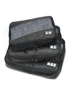 Mesh Panel 3 Pcs Storage Bag Set - Black