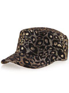Schimmer Leopard Gedruckt Flachen Top Military Hat - Golden