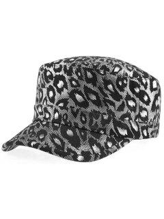 Shimmer Leopard Printed Flat Top Military Hat - Silver