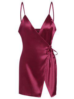 Vestido Encubierto De Satén Con Tirantes Finos - Vino Rojo M