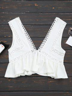 Ruffles Lace Trim Cropped Tank Top - White M
