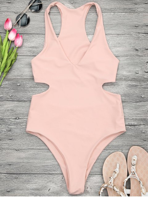 ladies V Neck Cut Out One Piece Swimsuit - ORANGEPINK M Mobile