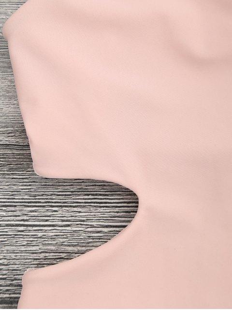 Maillot de bain une pièce col V avec découpes - Orange Rose S Mobile