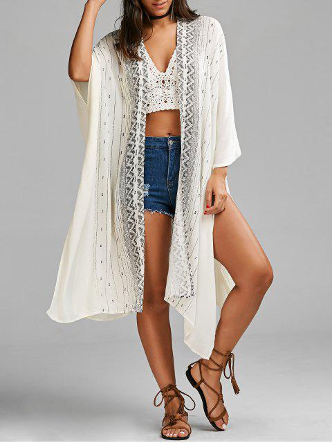 shop Graphic High Slit Open Front Blouse - WHITE ONE SIZE Mobile