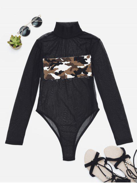 outfits Sheer Mesh Patch Front One Piece Swimsuit - CAMOUFLAGE S Mobile