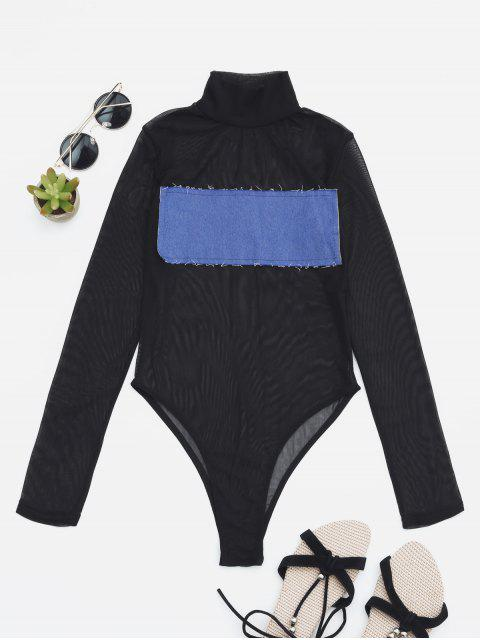 women's Sheer Mesh Patch Front One Piece Swimsuit - BLUE L Mobile
